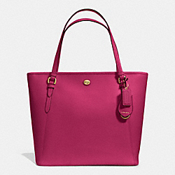 COACH PEYTON LEATHER ZIP TOP TOTE - IM/BERRY - F27349