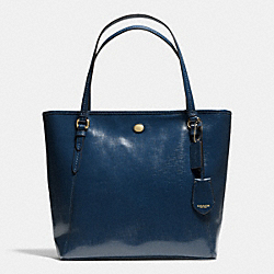 PEYTON LEATHER ZIP TOP TOTE - f27349 - IM/NAVY