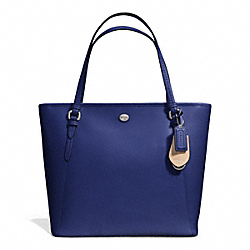 PEYTON LEATHER ZIP TOP TOTE - f27349 - SILVER/NAVY