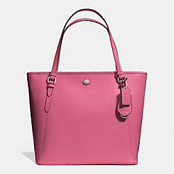 COACH PEYTON LEATHER ZIP TOP TOTE - SILVER/ROSE - F27349