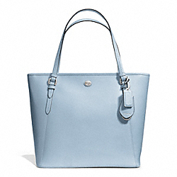PEYTON LEATHER ZIP TOP TOTE - f27349 - SILVER/SKY