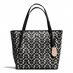PEYTON DREAM C ZIP TOP TOTE - f27350 - SILVER/BLACK/WHITE/BLACK