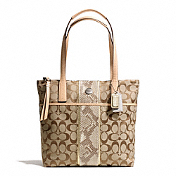 COACH SIGNATURE STRIPE PYTHON STRIPE TOTE - ONE COLOR - F27362