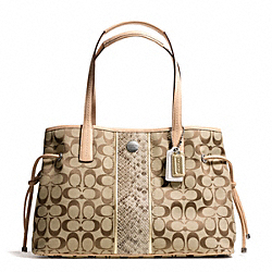 COACH SIGNATURE STRIPE PYTHON STRIPE CARRYALL - ONE COLOR - F27363
