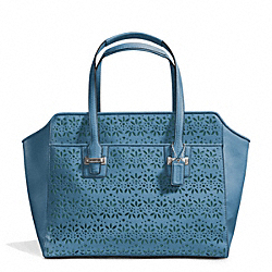 COACH TAYLOR EYELET LEATHER CARRYALL - SILVER/DENIM - F27391