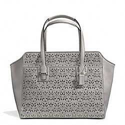 COACH TAYLOR EYELET LEATHER CARRYALL - SILVER/GREY - F27391