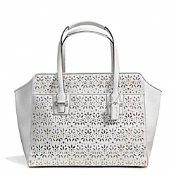 COACH TAYLOR EYELET LEATHER CARRYALL - SILVER/IVORY - F27391
