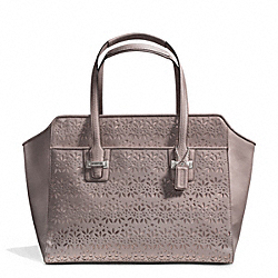 COACH TAYLOR EYELET LEATHER CARRYALL - SILVER/PUTTY - F27391