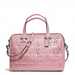 COACH TAYLOR EYELET LEATHER SATCHEL - SILVER/PINK TULLE - F27392