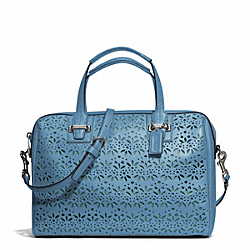 COACH TAYLOR EYELET LEATHER SATCHEL - SILVER/DENIM - F27392