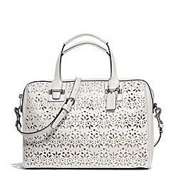 COACH TAYLOR EYELET LEATHER SATCHEL - SILVER/IVORY - F27392