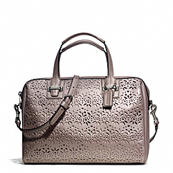 COACH TAYLOR EYELET LEATHER SATCHEL - SILVER/PUTTY - F27392