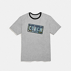 COACH LICENSE PLATE T-SHIRT - GRAY - F27447