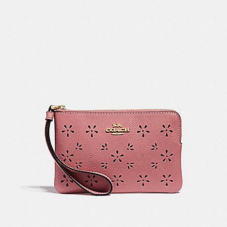 COACH CORNER ZIP WRISTLET - Vintage Pink/Imitation Gold - f27464