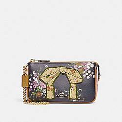 LARGE WRISTLET 19 WITH FLORAL BUNDLE PRINT AND BOW - NAVY/VINTAGE PINK/IMITATION GOLD - COACH F27470