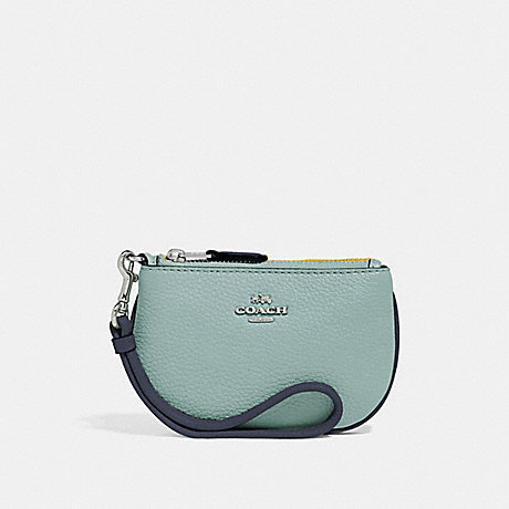COACH COIN CASE IN COLORBLOCK - SILVER/BLUE MULTI - f27479