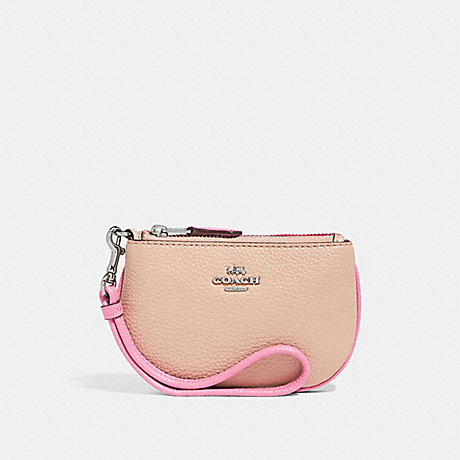 COACH COIN CASE IN COLORBLOCK - SILVER/PINK MULTI - f27479