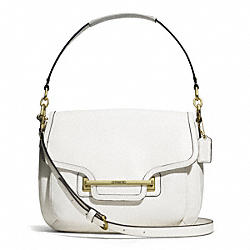TAYLOR LEATHER FLAP SHOULDER BAG - f27481 - BRASS/IVORY