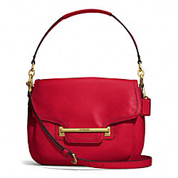COACH TAYLOR LEATHER FLAP SHOULDER BAG - BRASS/CORAL RED - F27481