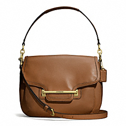 COACH TAYLOR LEATHER FLAP SHOULDER BAG - BRASS/SADDLE - F27481
