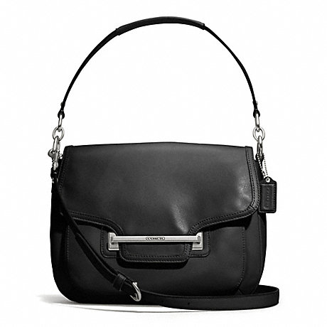 COACH TAYLOR LEATHER FLAP SHOULDER BAG - SILVER/BLACK - f27481