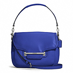 COACH TAYLOR LEATHER FLAP SHOULDER BAG - SILVER/COBALT - F27481