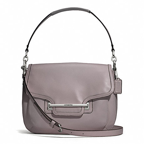 COACH TAYLOR LEATHER FLAP SHOULDER BAG - SILVER/PUTTY - f27481