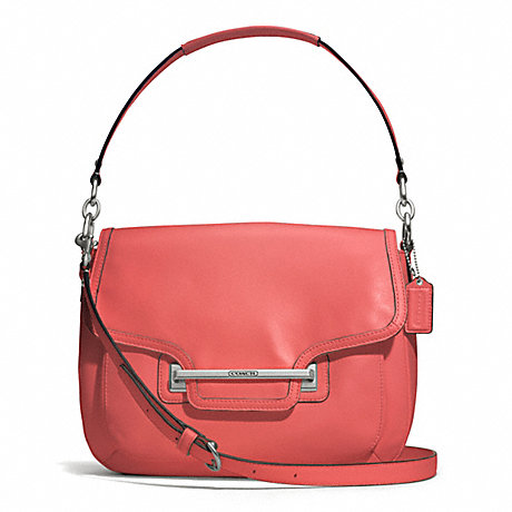 COACH TAYLOR LEATHER FLAP SHOULDER BAG - SILVER/TEAROSE - f27481