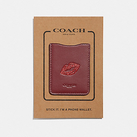 COACH PHONE POCKET STICKER WITH LIPS - DARK RED/MULTI - f27505
