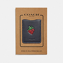 PHONE POCKET STICKER WITH STRAWBERRY - MIDNIGHT NAVY/MULTI - COACH F27507