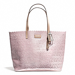 METRO EYELET LEATHER TOTE - f27544 - SILVER/SHELL PINK
