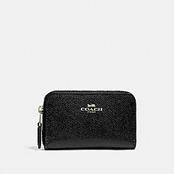COACH ZIP AROUND COIN CASE - LIGHT GOLD/BLACK - F27569