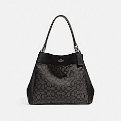LEXY SHOULDER BAG IN SIGNATURE JACQUARD - BLACK SMOKE/BLACK/SILVER - COACH F27579