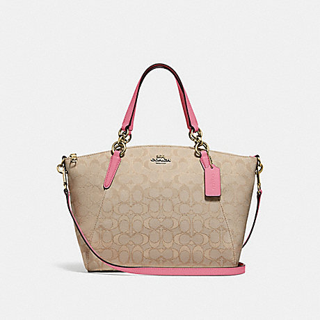 COACH SMALL KELSEY SATCHEL IN SIGNATURE JACQUARD - light khaki/peony/light gold - f27582