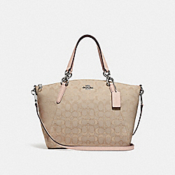 SMALL KELSEY SATCHEL IN SIGNATURE JACQUARD - LIGHT KHAKI/LIGHT PINK/SILVER - COACH F27582