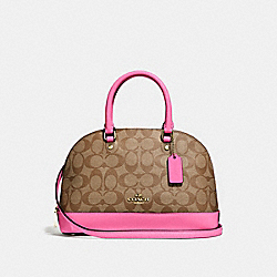 MINI SIERRA SATCHEL IN SIGNATURE CANVAS - KHAKI/PINK RUBY/GOLD - COACH F27583