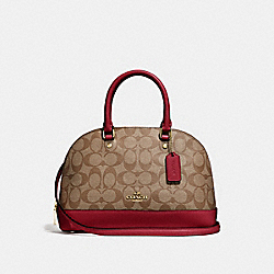 MINI SIERRA SATCHEL IN SIGNATURE CANVAS - KHAKI/CHERRY/LIGHT GOLD - COACH F27583