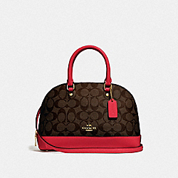 MINI SIERRA SATCHEL IN SIGNATURE CANVAS - BROWN/TRUE RED/LIGHT GOLD - COACH F27583