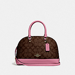 MINI SIERRA SATCHEL IN SIGNATURE CANVAS - IM/BROWN PINK ROSE - COACH F27583