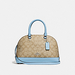 MINI SIERRA SATCHEL IN SIGNATURE CANVAS - LIGHT KHAKI/CORNFLOWER/SILVER - COACH F27583