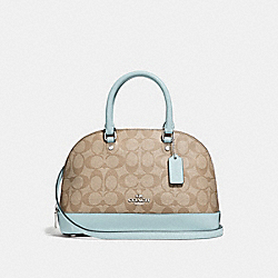 MINI SIERRA SATCHEL IN SIGNATURE CANVAS - LIGHT KHAKI/SEAFOAM/SILVER - COACH F27583