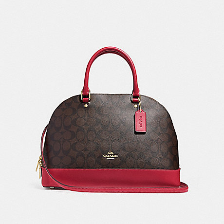 COACH SIERRA SATCHEL IN SIGNATURE CANVAS - BROWN/TRUE RED/LIGHT GOLD - F27584