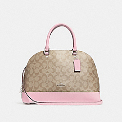 SIERRA SATCHEL IN SIGNATURE CANVAS - LIGHT KHAKI/CARNATION/SILVER - COACH F27584