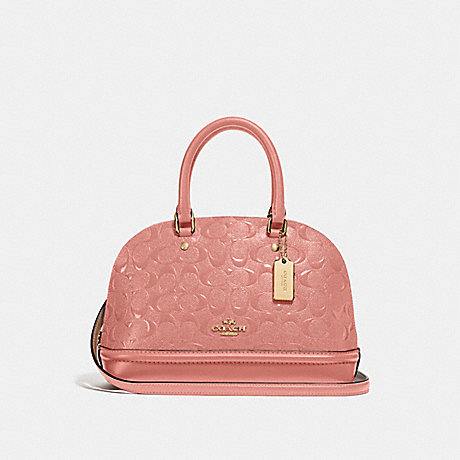 COACH MINI SIERRA SATCHEL IN SIGNATURE LEATHER - MELON/LIGHT GOLD - F27597