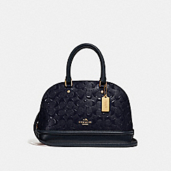 MINI SIERRA SATCHEL IN SIGNATURE LEATHER - MIDNIGHT/IMITATION GOLD - COACH F27597