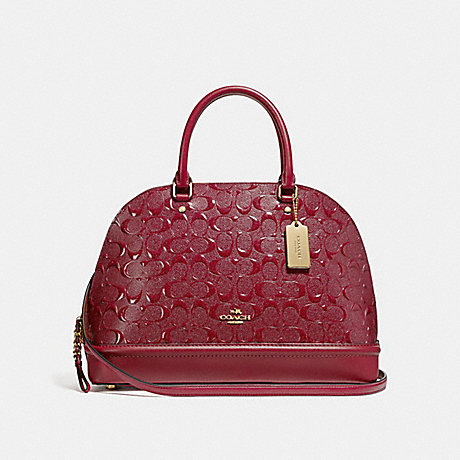 COACH SIERRA SATCHEL IN SIGNATURE LEATHER - CHERRY /LIGHT GOLD - F27598