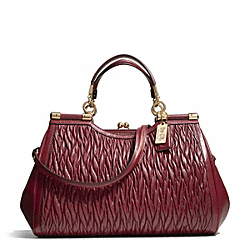 COACH MADISON GATHERED TWIST CARRIE SATCHEL - LIGHT GOLD/BRICK RED - F27681