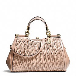 COACH MADISON GATHERED TWIST CARRIE SATCHEL - LIGHT GOLD/PEACH ROSE - F27681