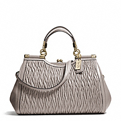 MADISON GATHERED TWIST CARRIE SATCHEL - LIGHT GOLD/GREY BIRCH - COACH F27681