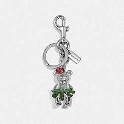 3D HAWAIIAN BEAR BAG CHARM - f27698 - SILVER/SILVER